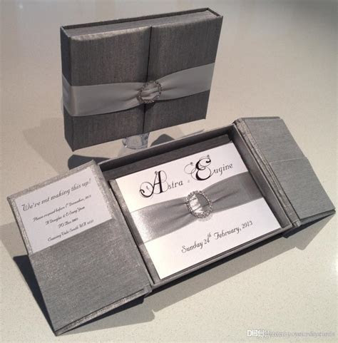 Royal Silver Silk Box Wedding Invitation Gate Fold Satin