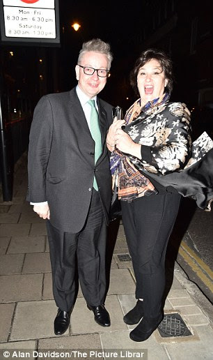 Journalist Sarah Vine and her husband Michael Gove arrive at Conservative Party's Black & White Ball