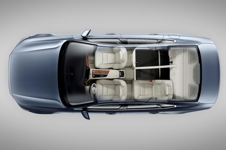 2017 Volvo S90 interior rear seats partially folded down