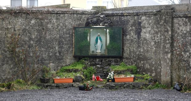 A shrine, with an image of the Virgin Mary on part of the site of the former mother-and-baby home run by the Bon Secours nuns in Tuam, Co Galway, where the remains of an unknown number of babies and toddlers were found buried. Photograph: Reuters/Peter Nicholls