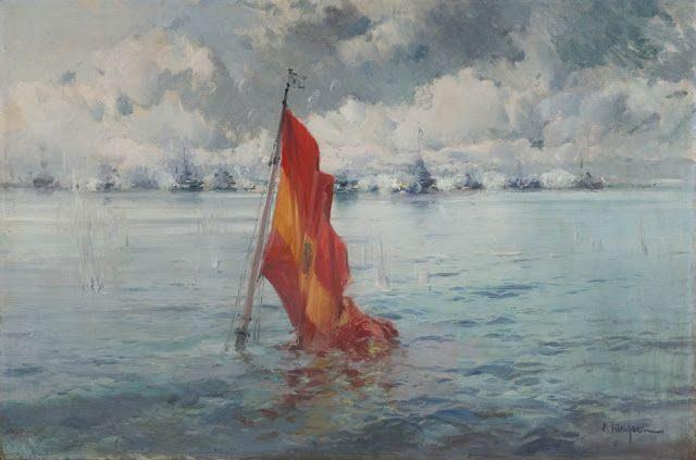 Eliseo Meifrén Roig. Batalla de Santiago de Cuba. Óleo sobre lienzo. Firmado.