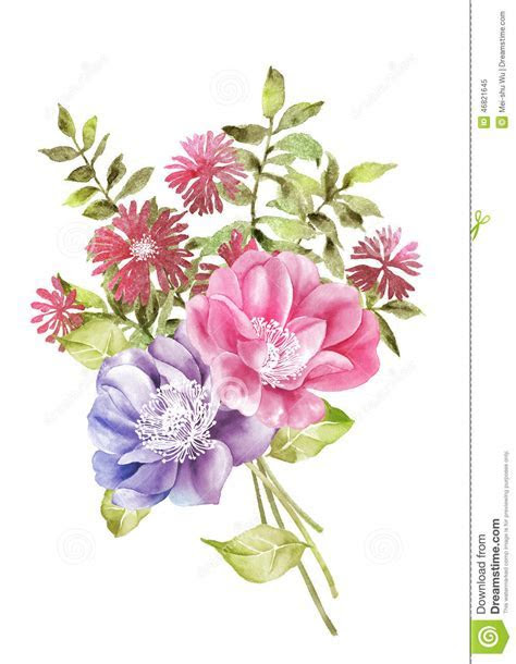 Watercolor Illustration Flower In Simple Background Stock