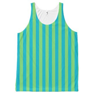 Unisex Tank Top with Aqua and Green Stripes All-Over Print Tank Top