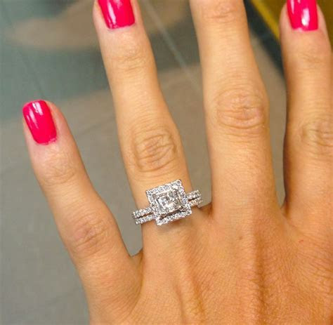 Princess Cut with Square Halo and thin, Diamond Bands! Ahh