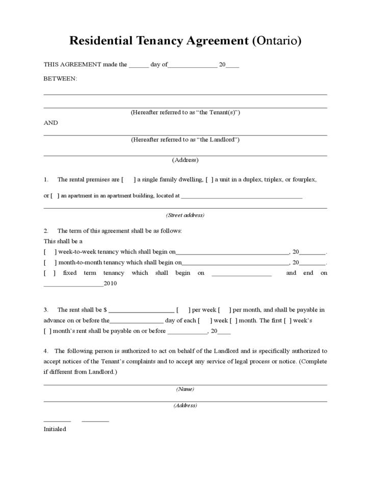 residential tenancy agreement l1