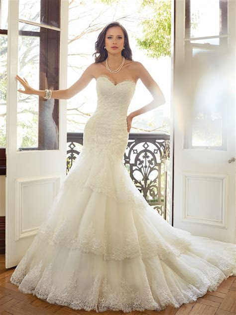 Fit and Flare Wedding Dress with Dropped Waist