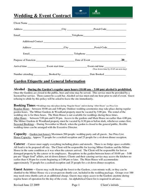 wedding event contract sample   Contract   Pinterest
