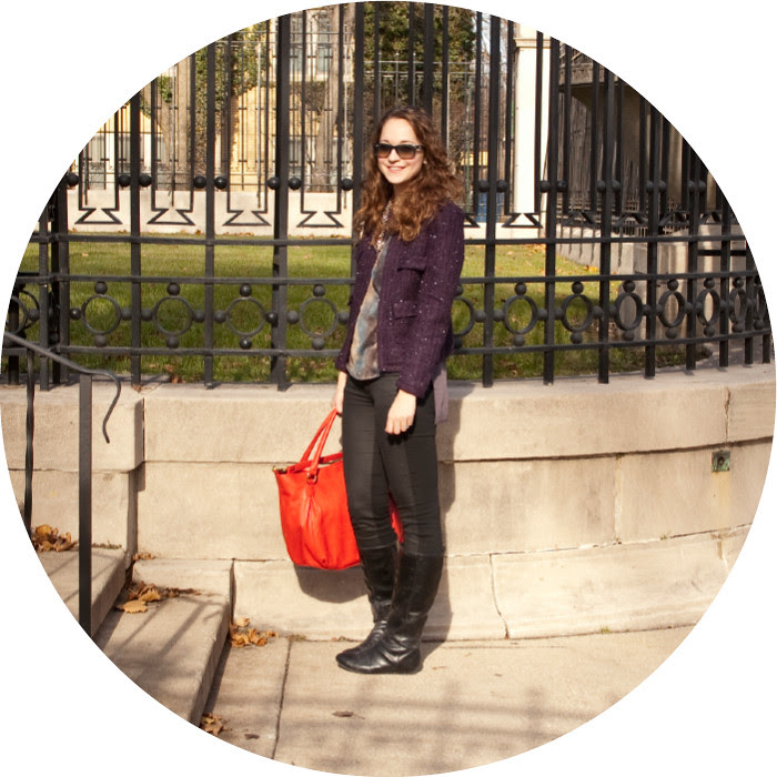 dash dot dotty, reiss portia top, coated denim, purple tweed jacket, purple and red, j.crew dorset hobo, bright red bag, ootd, outfit blog, what to wear with, winter boots