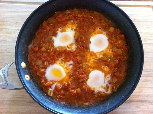 Eggs Cooked in Tomato Sauce Until Just Set