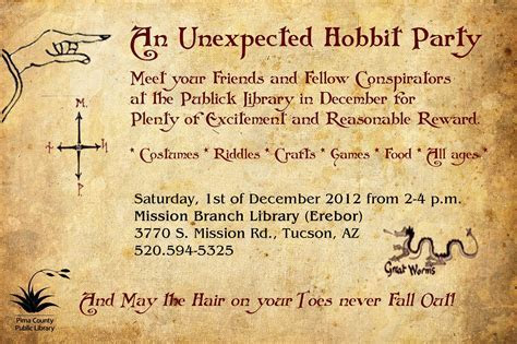 Sample of Hobbit Party poster for our libraries   Hobbit