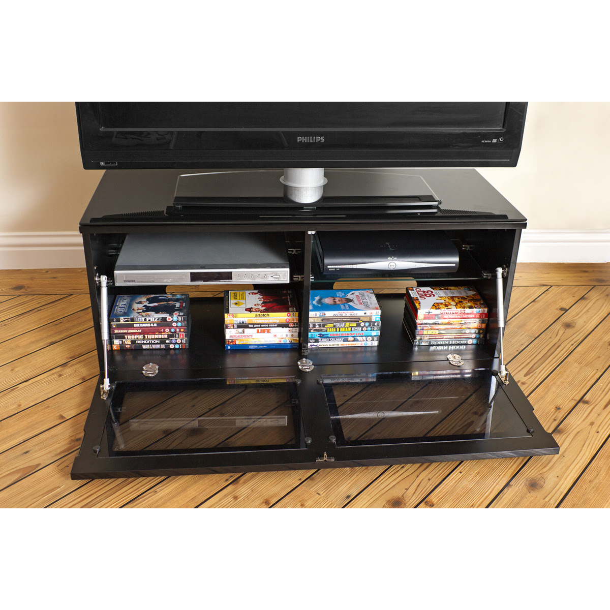 Black Gloss Drop Down Glass Door LCD TV Stand Cabinet 42 ...
