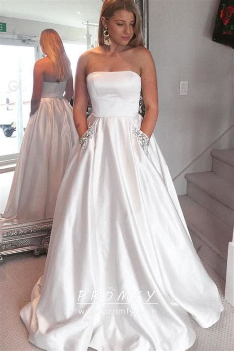 Simple White Satin Strapless Straight Neck Ball Gown with
