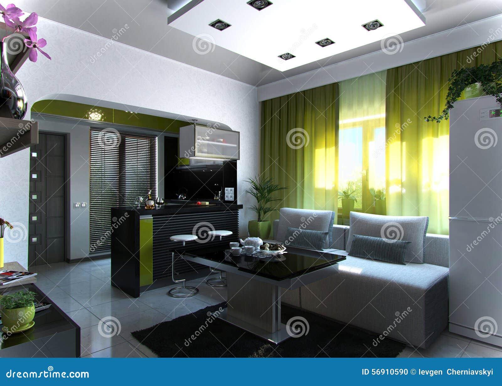 Open Concept Living Room And Kitchen Scene 3, 3D Rendering ...