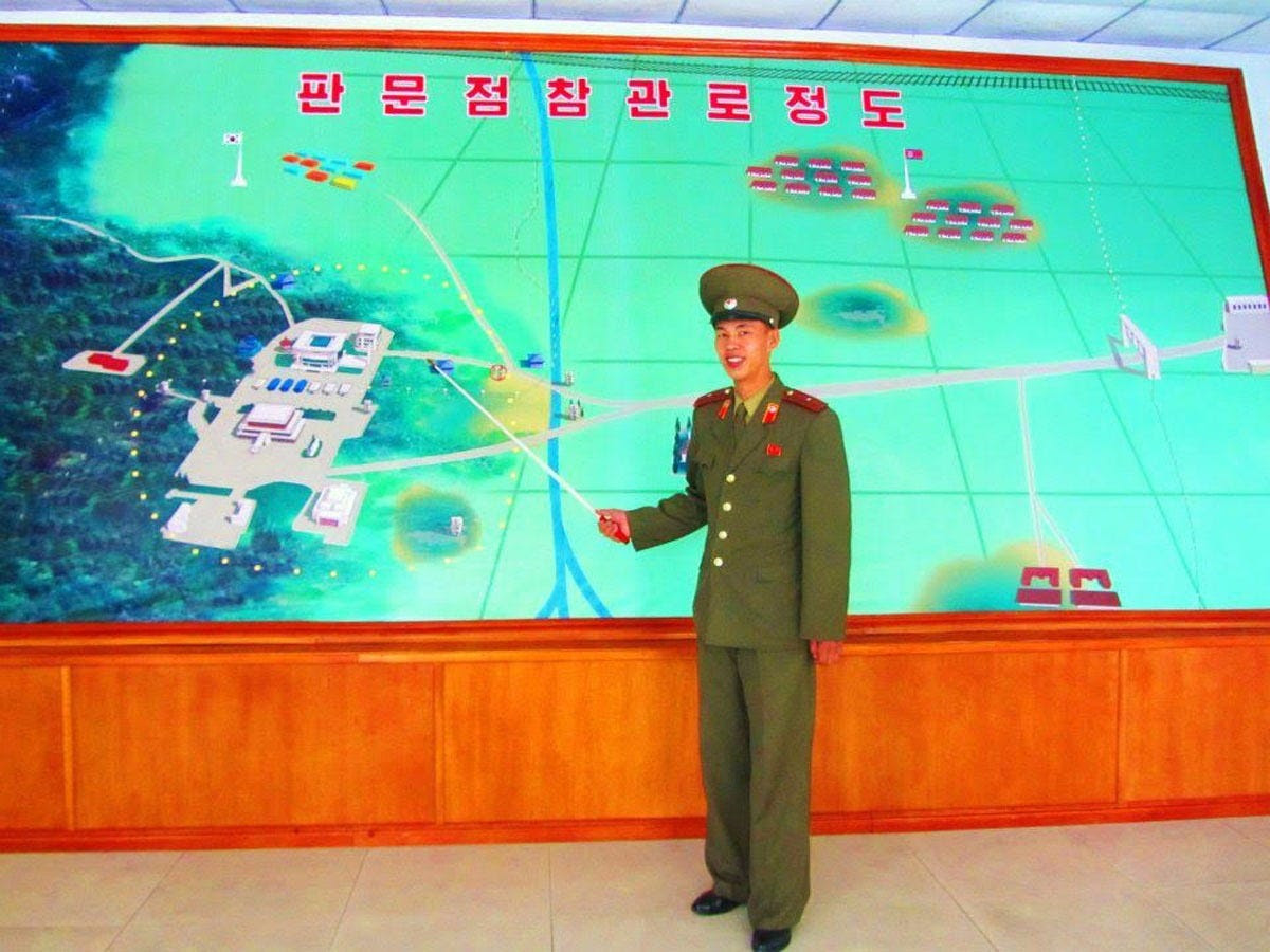 """Justin and Anna were guided through the area by senior military personnel, who continued to describe how the Democratic People's Republic of Korea was prepared to, if necessary, """"unleash total nuclear war on the Japanese and American imperialists."""""""