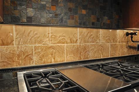 wheat field handmade ceramic tile backsplash