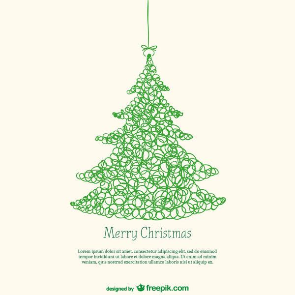フリー素材 クリスマスツリーを落書き風のラインで描いたベクター