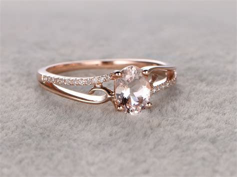 6x8mm Oval Morganite Engagement Ring Diamond Wedding Ring