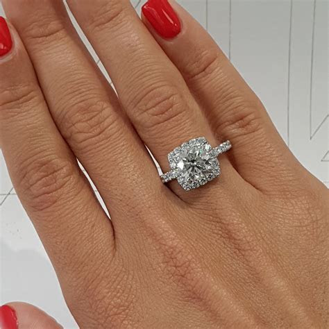 2 Carat Cushion Style Halo Diamond Engagement Ring   14K