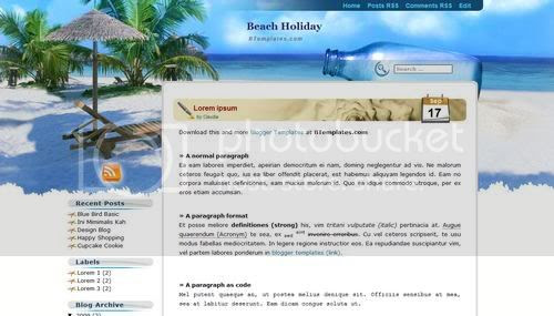 Blogger Beach Holiday Blue Web2.0 Template
