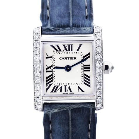 White Gold Cartier Tank Francaise with Diamond Bezel