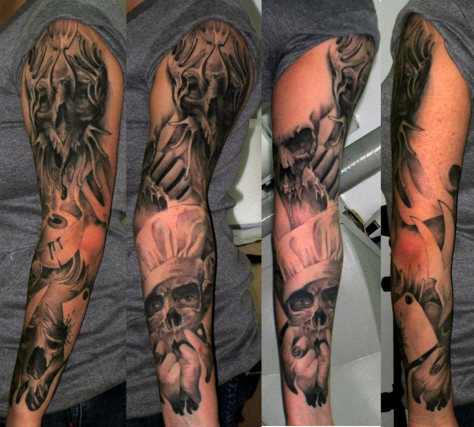 New Heaven And Hell Tattoo Half Sleeve Tattoo