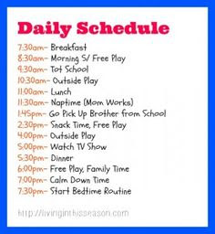 Sample schedule for 5 year old - detailed | Organized Schedules ...