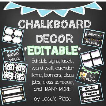 Chalkboard Decor EDITABLE Labels, Jobs, Numbers, Signs, Calendar ...