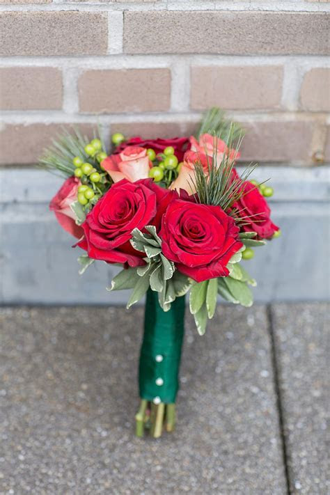 Festive Red & Green Hand Tied Holiday Wedding Bouquet