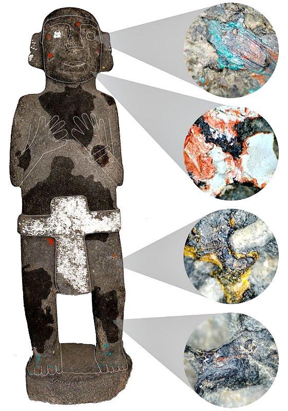 Detalle de los pigmentos presentes en una de las esculturas gracias al microscopio digital. (Fotografía: Michelle de Anda/PTM-INAH)