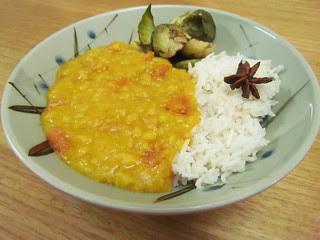 Lemon Garlic Dal; Steamed Basmati with Sweet Spices