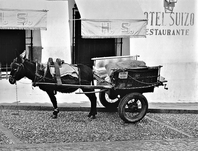 Carro tirado por un burro frente al Hotel Suizo en Toledo en 1967. Fotografía de John Fyfe
