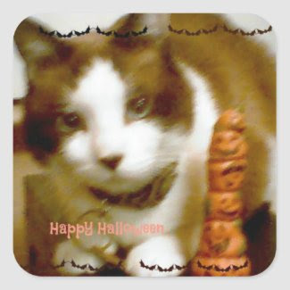 snowshoe Happy Halloween Kitty Square Sticker