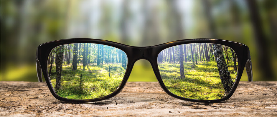 a pair of black glasses with trees in focus through them