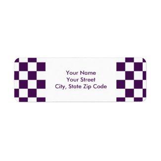 Checkered Purple and White return address label