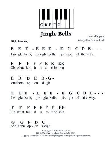 Jingle Bells, easy pre staff music with letters for