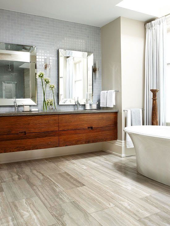 Contemporary Bathroom Design with Wood Floors and Drawers ...