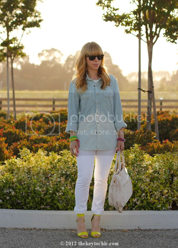DIY bleach dip shirt, H&M neon heels, Los Angeles fashion, southern California style