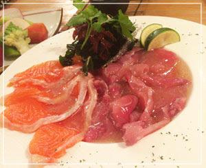 津田沼「鈴家」にて、信州の美食コース、これは「鯉のあらい」。