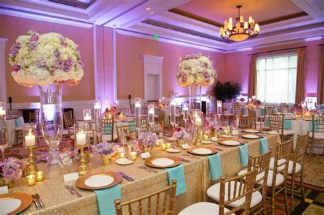 Chic Gold, Aqua, and Lavender Wedding   Table settings