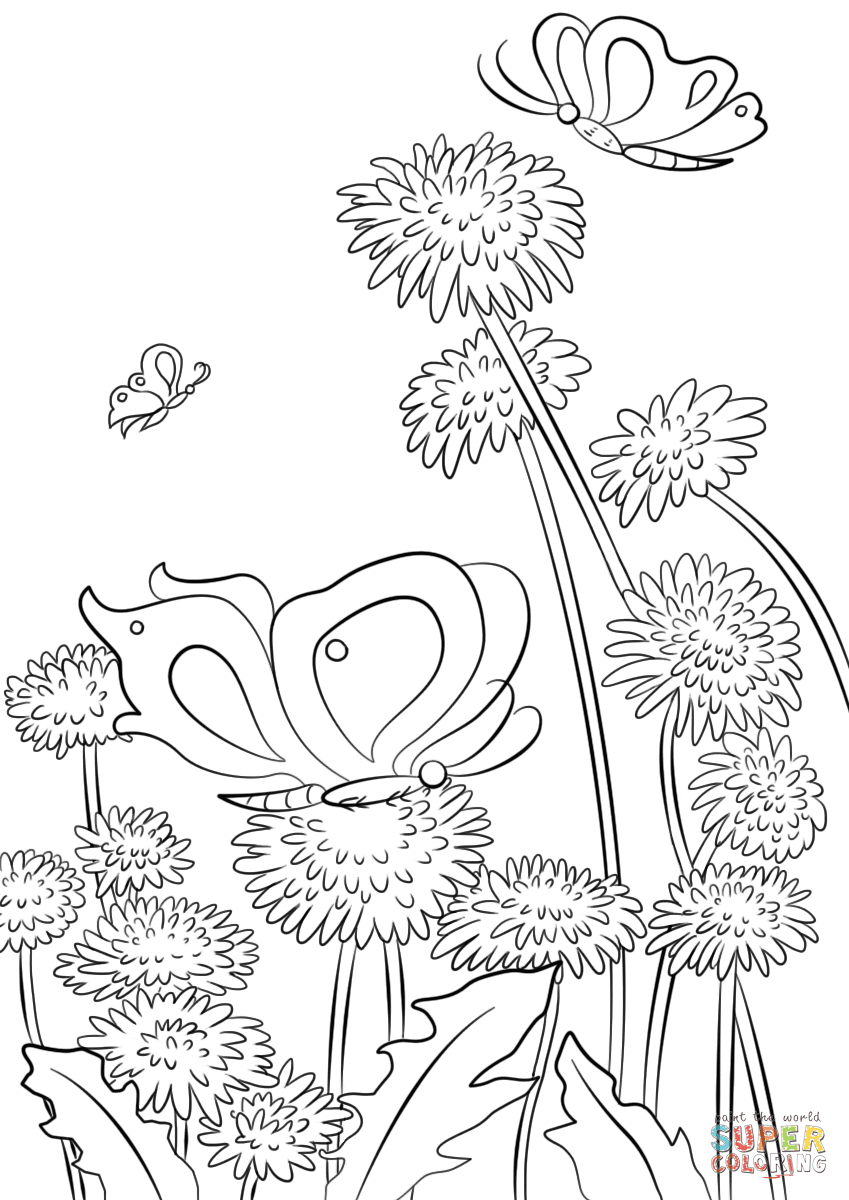 Butterflies And Flowers Coloring Page Free Printable Coloring Pages