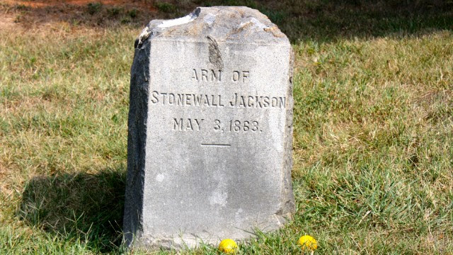 Stonewall Jackson's left arm is interred separate from the rest of his body.