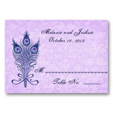 Peacock Feathers Table Place Card Wedding Party   Zazzle