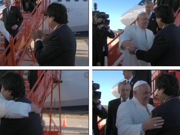 Papa e Morales se abraçam na chegada do pontífice à Bolívia (Foto: Reprodução/Twitter/Canal_BoliviaTV)