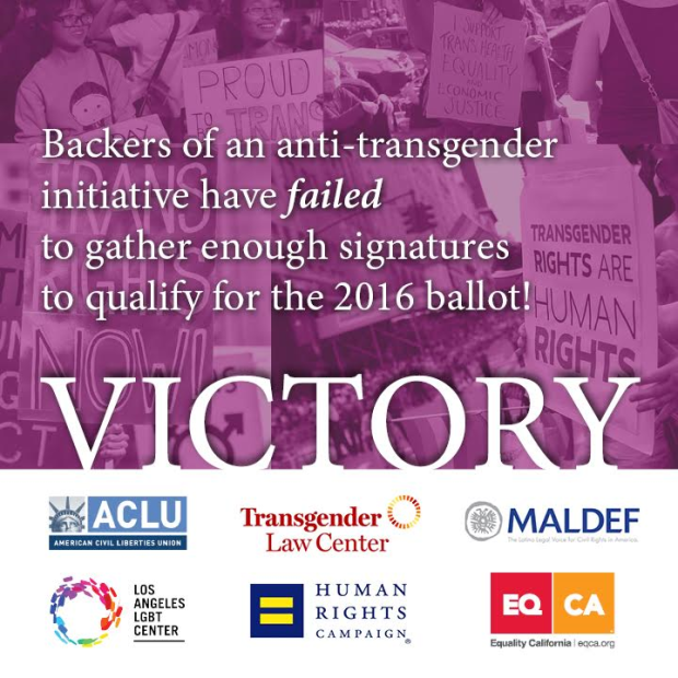 Graphic celebrating a failed attempt to gather signatures for an anti-trans ballot initiative in CA.