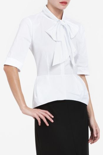 BCBGMAXAZRIA Keaton Tie-Neck Top with Darted Peplum