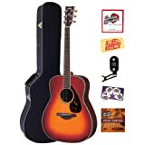 Yamaha FG730S Folk Acoustic Guitar Bundle with Hardshell Case, Tuner, Instructional DVD, Strings, Pick Card, and...