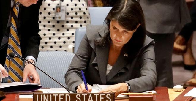 La embajadora de EEUU ante la ONU, Nikki Haley, hace unos días. REUTERS/Shannon Stapleton