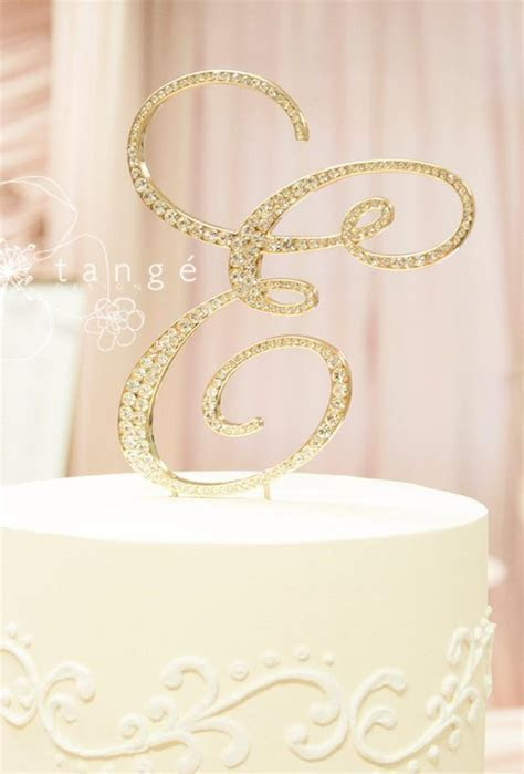 Priority Mail Metal Rhinestone GOLD E Cake Toppers