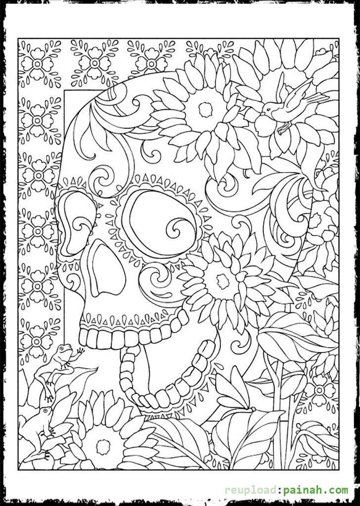 Sugar Skull Adult Coloring Page - Coloring Home