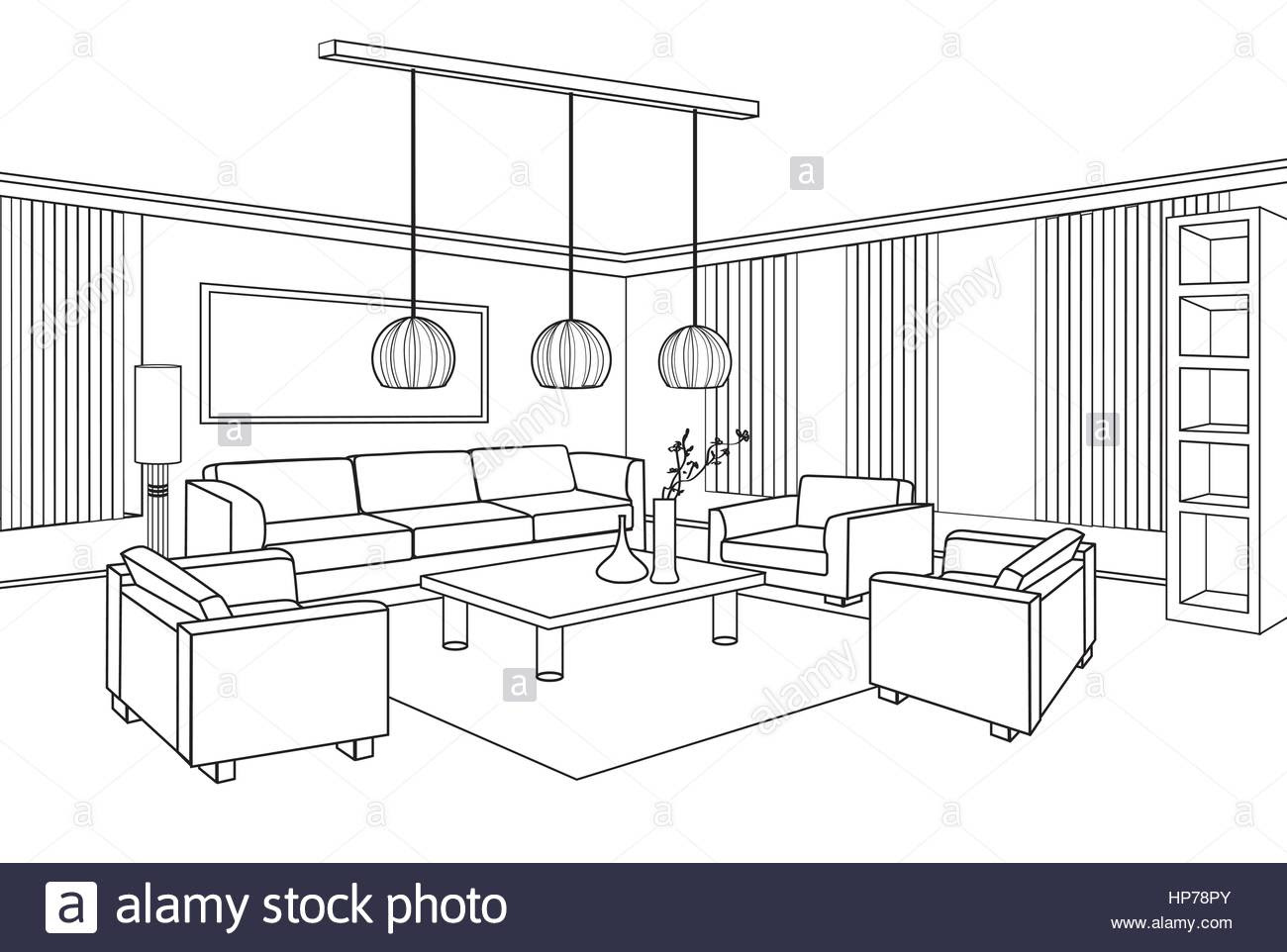Living Room Drawing At Getdrawingscom Free For Personal